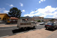 Horse transported in opened top vehicle. Tenerife, Canary Islands