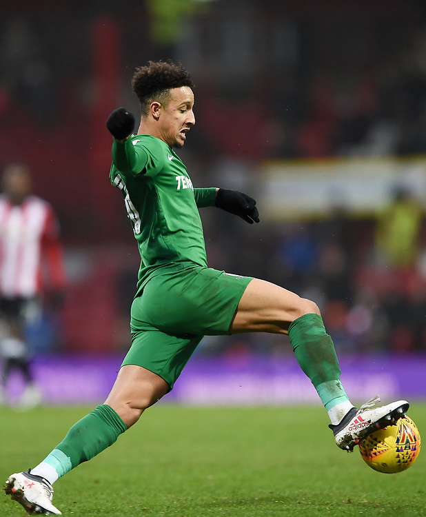 Preston's Callum Robinson controls the ball<br /> <br /> Photographer Jonathan Hobley/CameraSport<br /> <br /> The EFL Sky Bet Championship - Brentford v Preston North End - Saturday 10th February 2018 - Griffin Park - Brentford<br /> <br /> World Copyright &copy; 2018 CameraSport. All rights reserved. 43 Linden Ave. Countesthorpe. Leicester. England. LE8 5PG - Tel: +44 (0) 116 277 4147 - admin@camerasport.com - www.camerasport.com