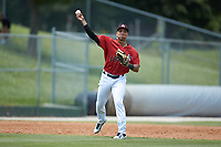 Kannapolis Intimidators third baseman Luis Curbelo (16) makes a throw to first base against the Lexington Legends at Kannapolis Intimidators Stadium on May 15, 2019 in Kannapolis, North Carolina. The Legends defeated the Intimidators 4-2. (Brian Westerholt/Four Seam Images)