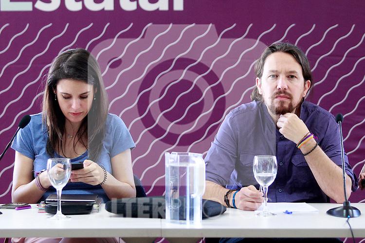 Irene Montero, Speaker in Congress (l) and Pablo Iglesias, General Secretary, during the Consejo Ciudadano Estatal - State Citizen Council of Podemos. (ALTERPHOTOS/Acero)