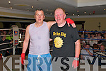 """Rumlble in Listowel :John Chute and his friend Louis O'Connell embrace after their boxing encounter at the """" Rumble in Listowel """"charity fund raising event in the Listowel Arms Hotel on Friday night last."""