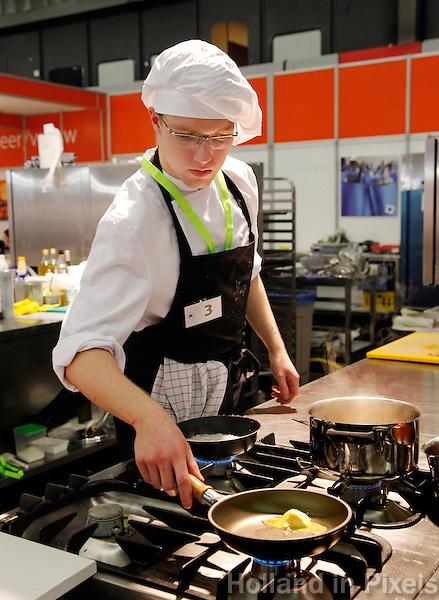 Wedstrijd voor koks tijdens het Skills Masters evenement in Ahoy