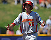Chaminade High School 2B No. 46 Cole Masterson reacts after crossing home plate to extend his team's lead over St. Dominic to 4-0 in the top of the fourth inning in Game 2 of the NSCHSAA varsity baseball final at New York Institute of Technology on Monday, May 25, 2015. Chaminade went on to win 10-0 to clinch the league championship.<br /> <br /> James Escher