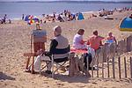 AJDNA8 Artist painting Walberswick beach Suffolk England