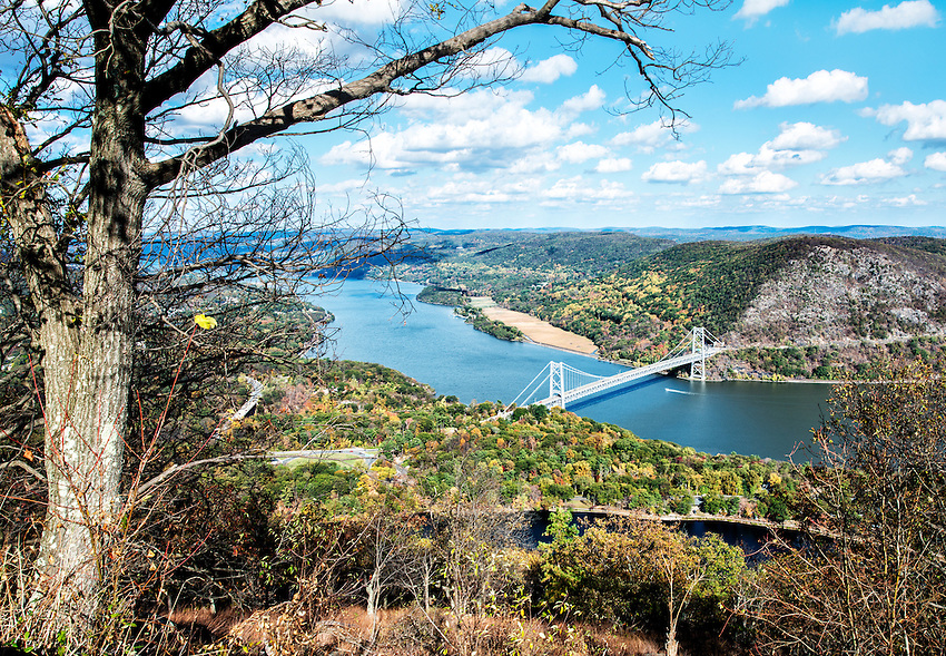 A view of the Bear Mountain Bridge and the Hudson River, from the top of Bear Mountain, in autumn