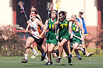 Santa Barbara, CA 02/13/10 - Bryn Levitan (Oregon #77), Clayton Crum (Texas #18) and Bri Wright (Oregon #17) in action during the Texas-Oregon game at the 2010 Santa Barbara Shoutout, Texas defeated Oregon 11-9.