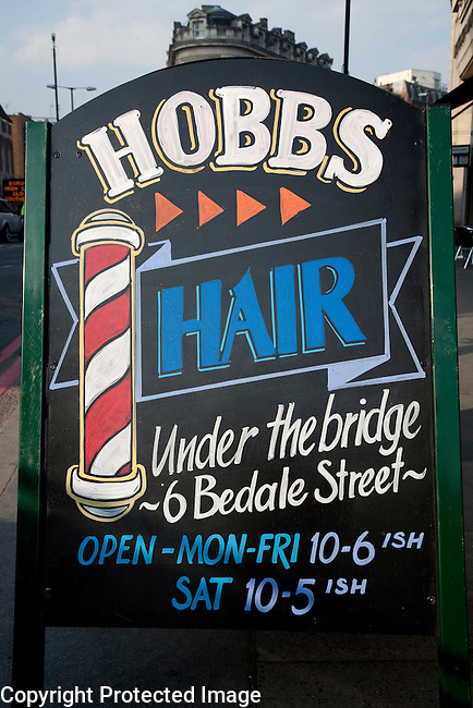 Hobbs Hairdressers and Barber Sign, London