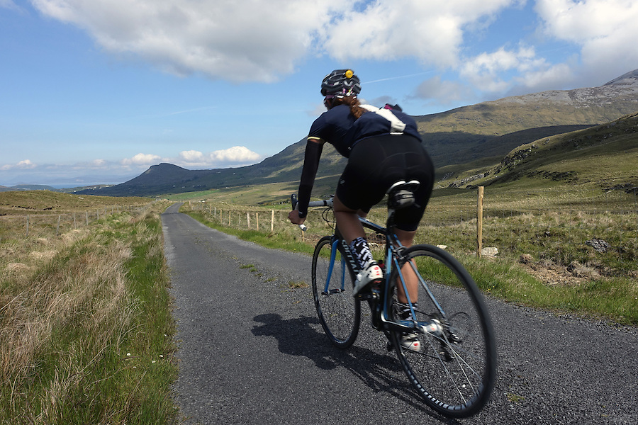 Cycling the backroads of the Sheeffry Hills of County Mayo, Ireland.