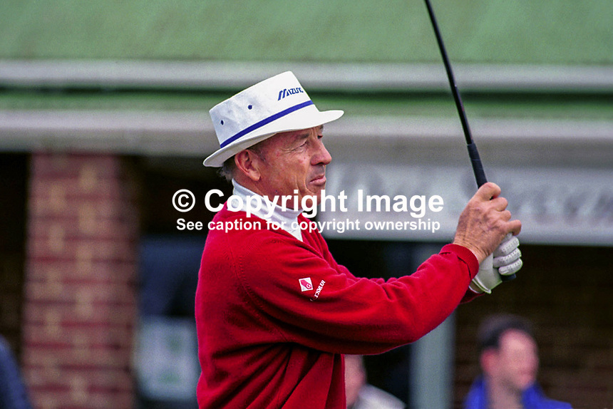 Tommy Horton, Professional Golfer, England, UK. Taken August 1998 at British Seniors Championship held at Royal Portrush. Ref: 199808019..Copyright Image from Victor Patterson, 54 Dorchester Park, Belfast, UK, BT9 6RJ..Tel: +44 28 9066 1296.Mob: +44 7802 353836.Voicemail +44 20 8816 7153.Skype: victorpattersonbelfast.Email: victorpatterson@mac.com.Email: victorpatterson@ireland.com (back-up)..IMPORTANT: If you wish to use this image or any other of my images please go to www.victorpatterson.com and click on the Terms & Conditions. Then contact me by email or phone with the reference number(s) of the image(s) concerned.
