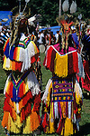 Indian dancers dressed in traditional colorful costumes at Discovery Park Inter Indian ceremony Seattle Washington State USA