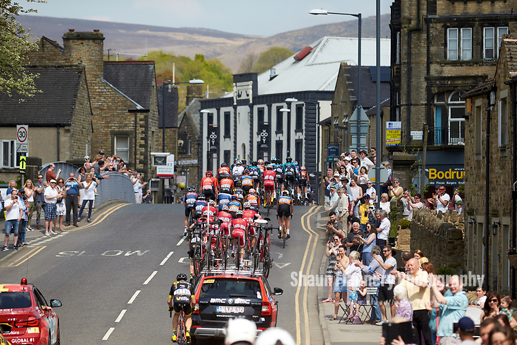 Picture by Shaun Flannery/SWpix.com - 06/05/2018 - Cycling - 2018 Tour de Yorkshire - Stage 4: Halifax - Leeds - Yorkshire, England<br /> <br /> The peloton arrives in Skipton