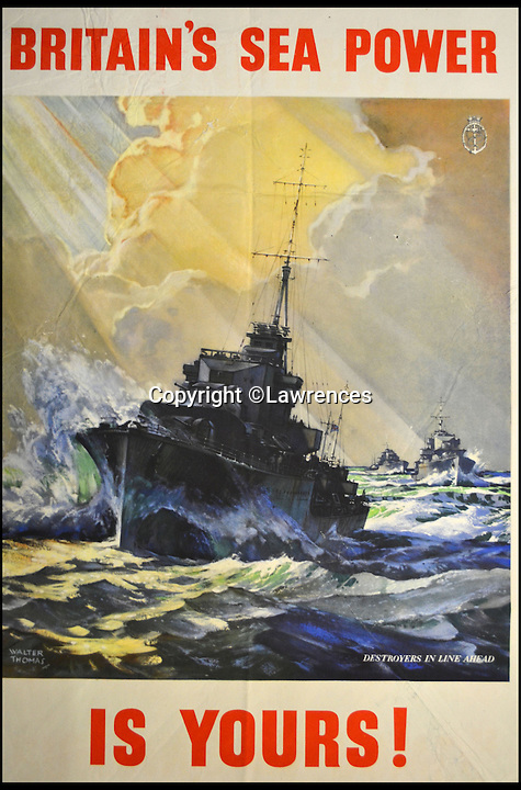 BNPS.co.uk (01202 558833)<br /> Pic: Lawrences/BNPS<br /> <br /> ***Please use full byline*** <br /> <br /> A set of more than 250 immaculate World War II posters are set to sell for &pound;20,000 after they were discovered folded up in a chest of drawers.<br /> <br /> It is thought the posters were packed away following the end of war in 1945 - and they have not been touched since.<br /> <br /> The remarkable archive was only discovered when the seller, from London, decided to clear out his garage and stumbled across the posters.<br /> <br /> The collection is tipped to fetch &pound;20,000 when it goes under the hammer at auction house Lawrences in Bletchley, Surrey.