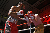 Ohio Kane (red shorts) defeats William Warburton during a Boxing Show at York Hall on 2nd February 2019