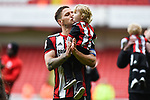 Billy Sharp of Sheffield Utd kisses his son after the Championship league match at Bramall Lane Stadium, Sheffield. Picture date 28th April, 2018. Picture credit should read: Harry Marshall/Sportimage