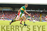 Donnchadh Walsh Kerry  in action against Jamie O' Sullivan Cork in the Munster Senior Football Final at Fitzgerald Stadium on Sunday.