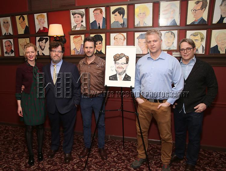 Gretchen Mol, Kenneth Lonergan, Josh Hamilton, CJ Wilson, Matthew Broderick attend the unveiling of the Kenneth Lonergan caricature at Sardi's on February 17, 2017 in New York City.