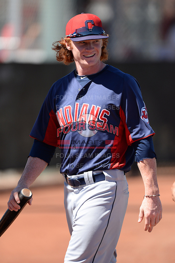 Cleveland Indians outfielder Clint Frazier (17) during an instructional league game against the Cincinnati Reds on September 28, 2013 at Goodyear Training Complex in Goodyear, Arizona.  (Mike Janes/Four Seam Images)