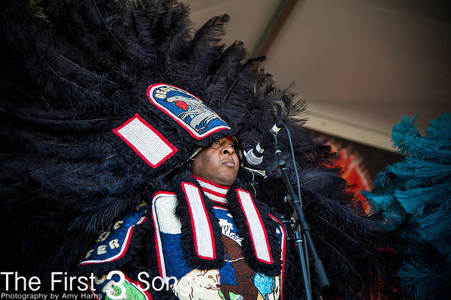 The Red Hawk Hunters Mardi Gras Indians perform during the New Orleans Jazz & Heritage Festival in New Orleans, LA.