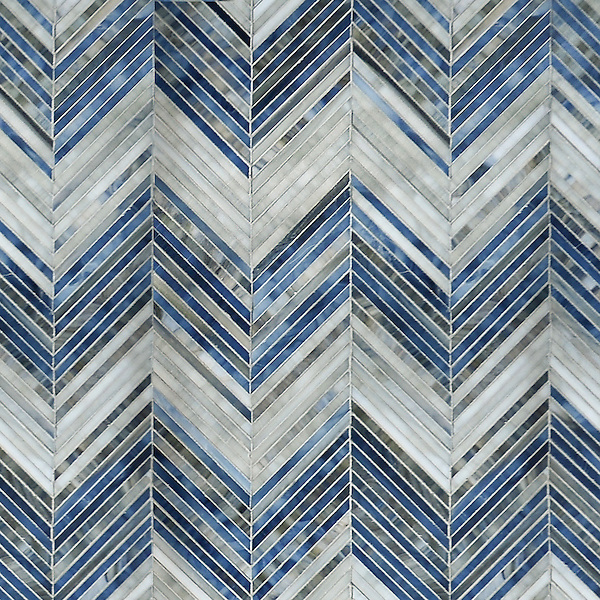 Ombre Chevron, a hand-cut jewel glass mosaic shown in Lavastone, Zircon and Alabaster is part of the Shades of Gray Collection by Sara Baldwin for New Ravenna.