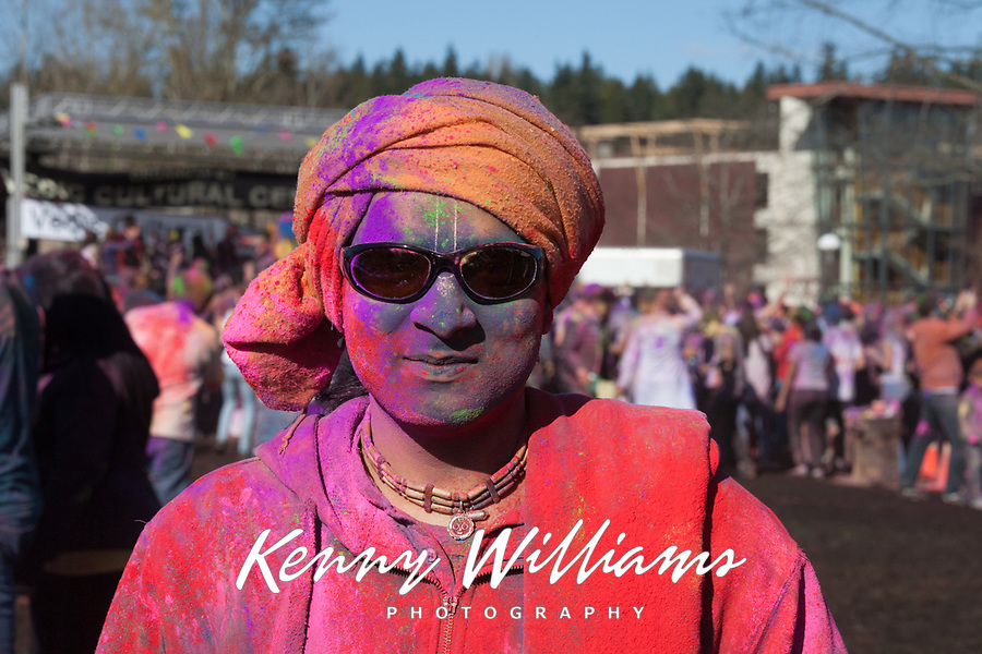 Man with Turban Covered with Colored Dye, Holi Festival of Colors, Bellevue, WA, USA.