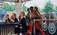 Guest percussionist, Richard Benjafield (nearest camera) on the Master Musicians of Ghana Tour, London 2000.