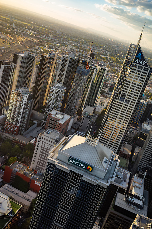 High view of Melbourne at dusk