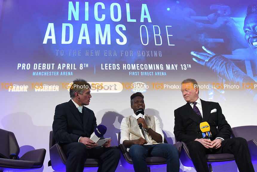 Boxer Nicola Adams OBE (C) during a Frank Warren and BT Sport Press Conference at the BT Tower on 23rd January 2017