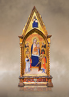 Gothic altarpiece of Madonna and Child by Niccolo di Tommaso, circa 1362-1367, tempera and gold leaf on wood.  National Museum of Catalan Art, Barcelona, Spain, inv no: MNAC  212809. Against a art background.
