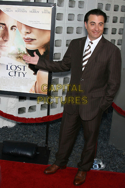 """ANDY GARCIA.""""The Lost City"""" Los Angeles Premiere - Arrivals held at the Arclight, Hollywood, California, USA..April 17th, 2006.Photo: Zach Lipp/AdMedia/Capital Pictures.Ref: ZL/ADM.full length brown pinstripe suit.www.capitalpictures.com.sales@capitalpictures.com.© Capital Pictures."""