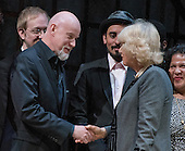Anthony Warlow shares a few words with Camilla, the Duchess of Cornwall, wife of Britain's Prince Charles, as she greets the actors on stage during a visit to the Shakespeare Theatre Company at Sidney Harman Hall in Washington, D.C. on Wednesday, March 18, 2015.<br /> Credit: Ron Sachs / CNP