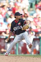 Eduardo Sanchez of the St.Louis Cardinals organization participates in the Futures Game at Angel Stadium in Anaheim,California on July 11, 2010. Photo by Larry Goren/Four Seam Images