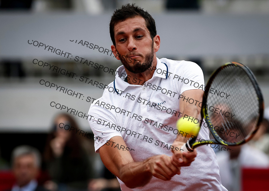 BELGRADE, SERBIA - JULY 16: James Ward of Great Britain returns the ball to Dusan Lajovic of Serbia during the Davis Cup Quarter Final match between Serbia and Great Britain on Stadium Tasmajdan on July 16, 2016 in Belgrade, Serbia. (Photo by Srdjan Stevanovic/Getty Images)