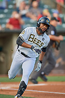 Jo Adell (26) of the Salt Lake Bees hustles to first base against the New Orleans Baby Cakes at Smith's Ballpark on August 4, 2019 in Salt Lake City, Utah. The Baby Cakes defeated the Bees 8-2. (Stephen Smith/Four Seam Images)