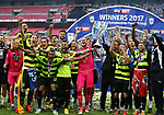 Huddersfield's players celebrate promotion during the Championship Play-Off Final match at Wembley Stadium, London. Picture date: May 29th, 2017. Pic credit should read: David Klein/Sportimage