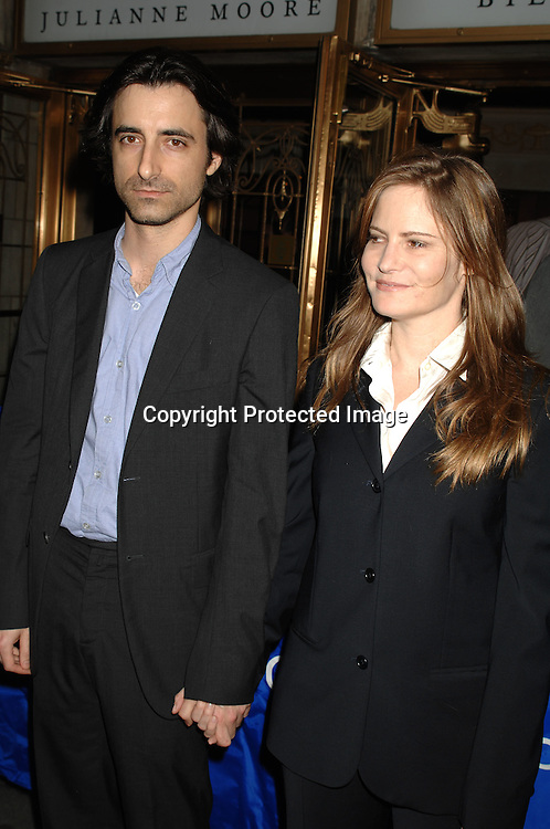 """Noah Baumbach and wife Jennifer Jason Leigh ..arriving at The Broadway Opening of """"The Vertical Hour"""" ..by David Hare on November 30, 2006 at The Music Box ..Theatre in New York. The play was directed by Sam Mendes and starred Julianne Moore and Bill Nighy...Robin Platzer, Twin Images"""