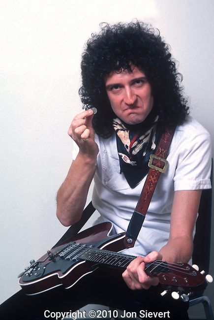 Brian May, Queen, Sept 1982. British rock band formed in London in 1971 and are one of the most commercially successful musical acts of all time. The group originally consisted of Freddie Mercury, (lead vocals), Brian May (lead guitar, vocals), John Deacon (bass guitar), and Roger Taylor (drums, vocals). Queen's initial works were chiefly heavy metal orientated, however with time the band incorporated diverse and innovative styles in their music, exploring the likes of vaudeville, progressive rock, and even funk.