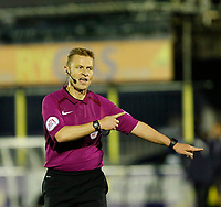 Referee, Michael Jones indicates handball and aware AFC Wimbledon a penalty during the Sky Bet League 1 match between AFC Wimbledon and MK Dons at the Cherry Red Records Stadium, Kingston, England on 22 September 2017. Photo by Carlton Myrie / PRiME Media Images.