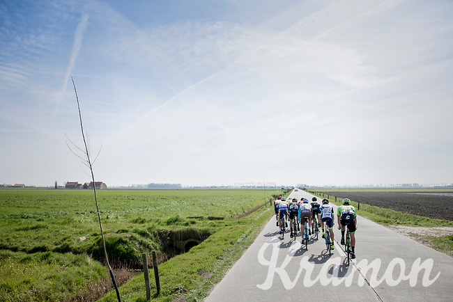 early breakaway group in the infamous (windy) Moeren<br /> <br /> 79th Gent-Wevelgem 2017 (1.UWT)<br /> 1day race: Deinze &rsaquo; Wevelgem - BEL (249km)