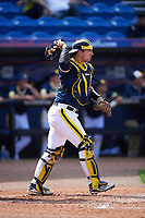 Michigan Wolverines catcher Harrison Wenson (7) during the second game of a doubleheader against the Canisius College Golden Griffins on February 20, 2016 at Tradition Field in St. Lucie, Florida.  Michigan defeated Canisius 3-0.  (Mike Janes/Four Seam Images)
