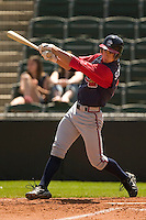 Rome Braves center fielder Jordan Schafer (#11) follows through on his swing versus Kannapolis at Fieldcrest Cannon Stadium in Kannapolis, NC, Tuesday, April 18, 2006.  Rome defeated Kannapolis 6-4.