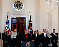 United States President Donald J. Trump, alongside United States Vice President Mike Pence, United States Secretary of State Mike Pompeo, United States Secretary of Defense Dr. Mark T. Esper, and United States Army General Mark A. Milley, Chairman of the Joint Chiefs of Staff, delivers remarks regarding the Iranian attack on two U.S. military bases in Iraq in the Grand Foyer of the White House on Wednesday, January 8, 2019.  The attack is said to be in retaliation for the U.S. drone strike that killed Iranian Military Leader Qasem Soleimani in Baghdad, Iraq on Friday, January 3, 2020. <br /> <br /> Credit: Stefani Reynolds / CNP/AdMedia