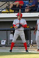 Greeneville Reds outfielder Mike Siani (34) on deck during a game against the Burlington Royals at the Burlington Athletic Complex on July 7, 2018 in Burlington, North Carolina. It was his first game as a professional baseball player. Burlington defeated Greeneville 2-1. (Robert Gurganus/Four Seam Images)