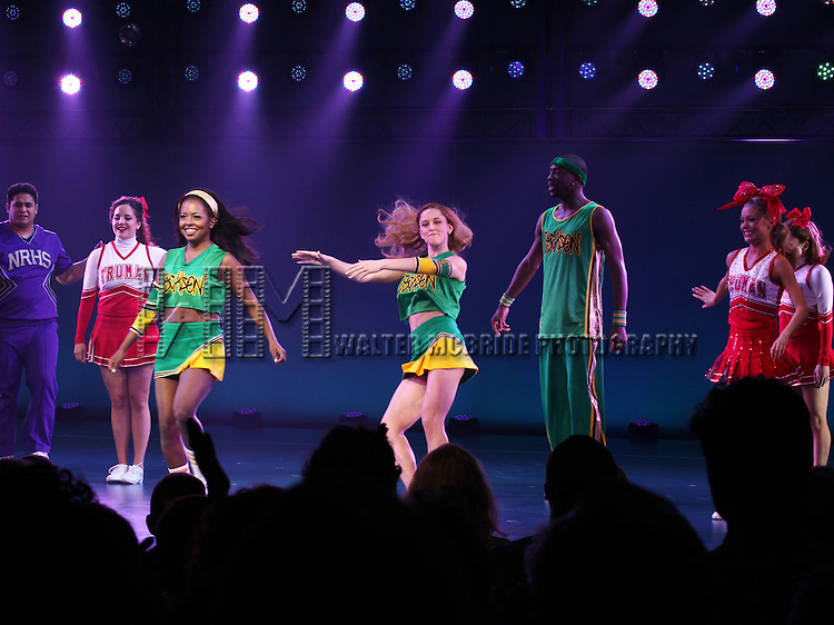 Adrienne Warren & Taylor Louderman.& Ensemble Cast during the Broadway Opening Night Performance Curtain Call for  'Bring it On The Musical' at the St. James Theatre in New York City on 8/1/2012