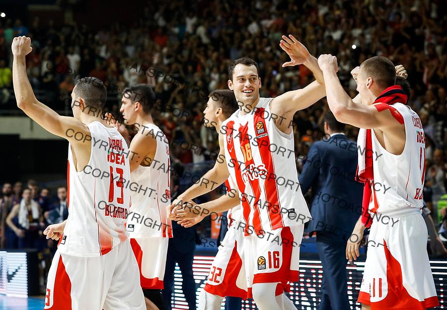 Kosarka Euroleague season 2017-2018<br /> Crvena Zvezda v Barcelona<br /> Ognjen Dobric (L) Stefan Jankovic (C) celebrate<br /> Beograd, 20.10.2017.<br /> foto: Srdjan Stevanovic/Starsportphoto &copy;