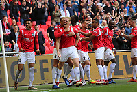 Salford City  team celebrating during AFC Fylde vs Salford City, Vanarama National League Play-Off Final Football at Wembley Stadium on 11th May 2019