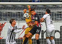 v.l. Robin Koch (SC Freiburg), Alexander Schwolow (SC Freiburg), Andre Silva (Eintracht Frankfurt), Manuel Gulde (SC Freiburg)<br />  - 26.05.2020 Fussball 1.Bundesliga Spieltag 28, Eintracht Frankfurt  - SC Freiburg emspor, <br /> <br /> Foto: Jan Huebner/Pool/ Via Marc Schueler/Sportpics.de<br /> (DFL/DFB REGULATIONS PROHIBIT ANY USE OF PHOTOGRAPHS as IMAGE SEQUENCES and/or QUASI-VIDEO), Editorial use only. National and International News Agencies OUT
