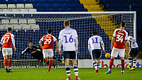 Bury's Dom Telford equalises from the penalty spot<br /> <br /> Photographer Alex Dodd/CameraSport<br /> <br /> The EFL Checkatrade Trophy Group B - Bury v Fleetwood Town - Tuesday 13th November 2018 - Gigg Lane - Bury<br />  <br /> World Copyright &copy; 2018 CameraSport. All rights reserved. 43 Linden Ave. Countesthorpe. Leicester. England. LE8 5PG - Tel: +44 (0) 116 277 4147 - admin@camerasport.com - www.camerasport.com