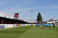 General view as players warm up during Dagenham & Redbridge vs Hartlepool United, Vanarama National League Football at the Chigwell Construction Stadium on 14th September 2019