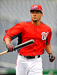2 April 2011: Washington Nationals shortstop Ian Desmond awaits his turn in the batting cage prior to a game against the visiting Atlanta Braves at Nationals Park in Washington, District of Columbia. The Nationals defeated the Braves 6-3 in the second game of their season opening series. Mandatory Credit: Ed Wolfstein Photo