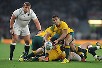 Will Genia of Australia passes during Match 26 of the Rugby World Cup 2015 between England and Australia - 03/10/2015 - Twickenham Stadium, London<br /> Mandatory Credit: Rob Munro/Stewart Communications